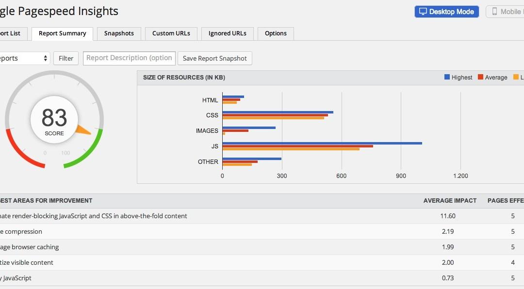 API key for Google PageSpeed